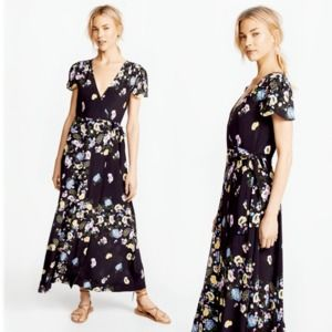 Free People Black Floral Jess Wrap Maxi Dress